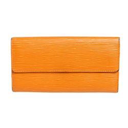 Louis Vuitton Orange Epi Leather Sarah Long Wallet
