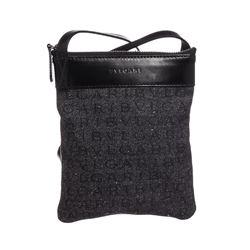Bvlgari Gray Denim Black Leather Small Shoulder Bag