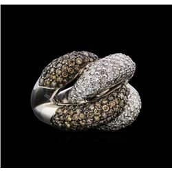 4.98 ctw Brown and White Diamond Ring - 14KT White Gold