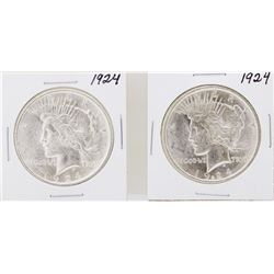 Lot of (2) 1924 $1 Peace Silver Dollar Coins