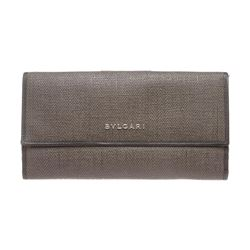 Bvlgari Gray Coated Canvas Leather Trim Continental Long Wallet
