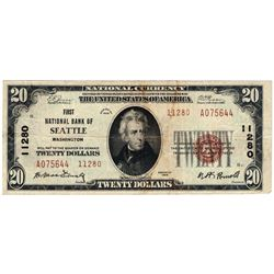 1929 $20 Seattle WA National Currency Note Charter #11280 Type 2