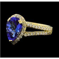 2.05 ctw Tanzanite and Diamond Ring - 14KT Yellow Gold