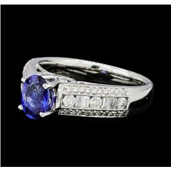 1.04 ctw Blue Sapphire And Diamond Ring - 18KT White Gold