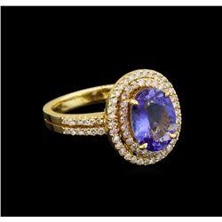 14KT Yellow Gold 3.02 ctw Tanzanite and Diamond Ring