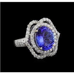 4.69 ctw Tanzanite and Diamond Ring - 14KT White Gold