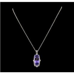20.72 ctw Tanzanite and Diamond Pendant With Chain - 14KT White Gold