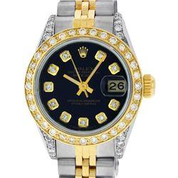 Rolex Ladies 2 Tone 14K Black Diamond Lugs Datejust Wristwatch