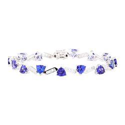 12.96 ctw Tanzanite And Diamond Bracelet - 14KT White Gold
