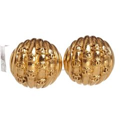 Chanel Gold Domed CC Balloon Vintage Clip On Earrings
