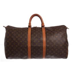 Louis Vuitton Monogram Canvas Leather Keepall 55 cm Bandouliere Duffle Bag Lugga