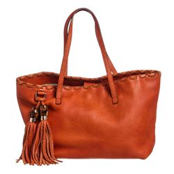Gucci Orange Leather Bamboo Tassel Tote Bag