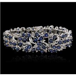 14KT White Gold 35.00 ctw Sapphire and Diamond Bracelet
