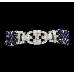 13.65 ctw Sapphire And Diamond Bracelet - 18KT White Gold