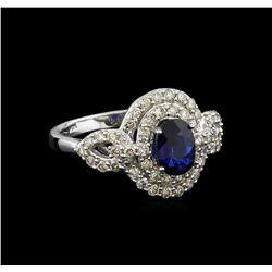 14KT White Gold 1.02 ctw Sapphire and Diamond Ring