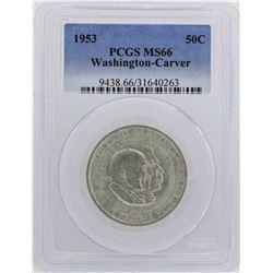 1953 Washington-Carver Centennial Commemorative Half Dollar Coin PCGS MS66