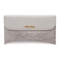 Miu Miu Silver Metallic Leather Long Envelope Wallet
