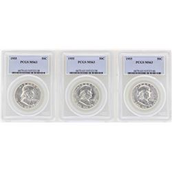 Lot of (3) 1955 Franklin Half Dollar Coins NGC MS63