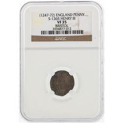 1247-72 England Penny S-1365 Henry III NGC VF35