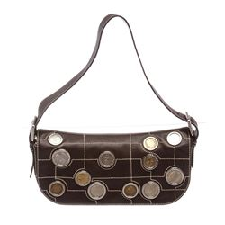 Celine Dark Brown Leather Eurodyssey Coin Collection Limited Edition Shoulder Ha