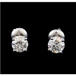 1.47 ctw Diamond Stud Earrings - 14KT White Gold