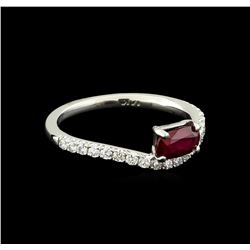 0.83 ctw Ruby and Diamond Ring - 14KT White Gold