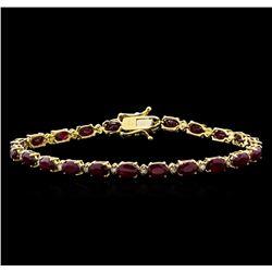 13.00 ctw Ruby and Diamond Bracelet - 14KT Yellow Gold