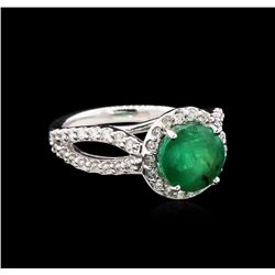 2.20 ctw Emerald and Diamond Ring - 14KT White Gold