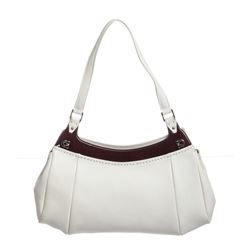 Salvatore Ferragamo White Brown Leather Wood Top Pleated Shoulder Bag