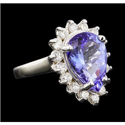 5.00 ctw Tanzanite and Diamond Ring - 14KT White Gold