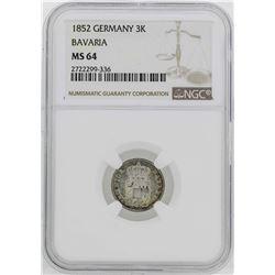 1852 Germany Bavaria 3 Kreuzer Coin NGC MS64