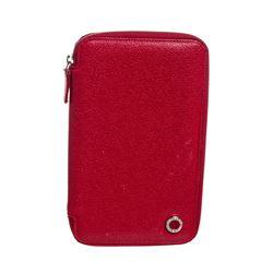 Bvlgari Red Textured Leather Zip Around Wallet