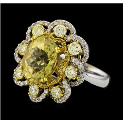 4.14 ctw Sapphire and Diamond Ring - 14KT White and Yellow Gold