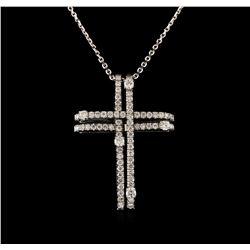 14KT White Gold 0.93 ctw Diamond Cross Pendant With Chain