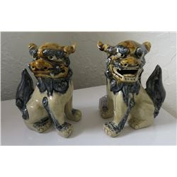 Pair of Porcelain Chinese Fu Dogs