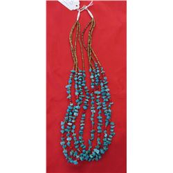 4-Strand Heishi & Turquoise Necklace
