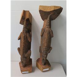 Pair of PNG Alligator Figures