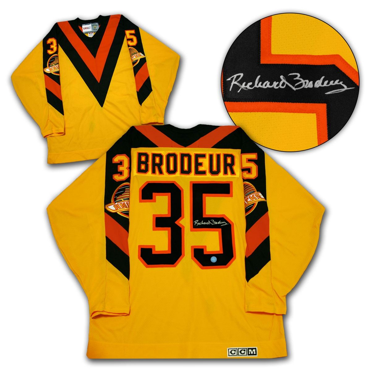 save off 9e031 d0788 Richard Broduer Vancouver Canucks Autographed Flying V Retro CCM Hockey  Jersey