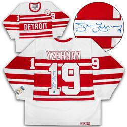 uk availability 1bd81 ddd85 Steve Yzerman Detroit Red Wings Autographed 1992 Striped Retro CCM Hockey  Jersey