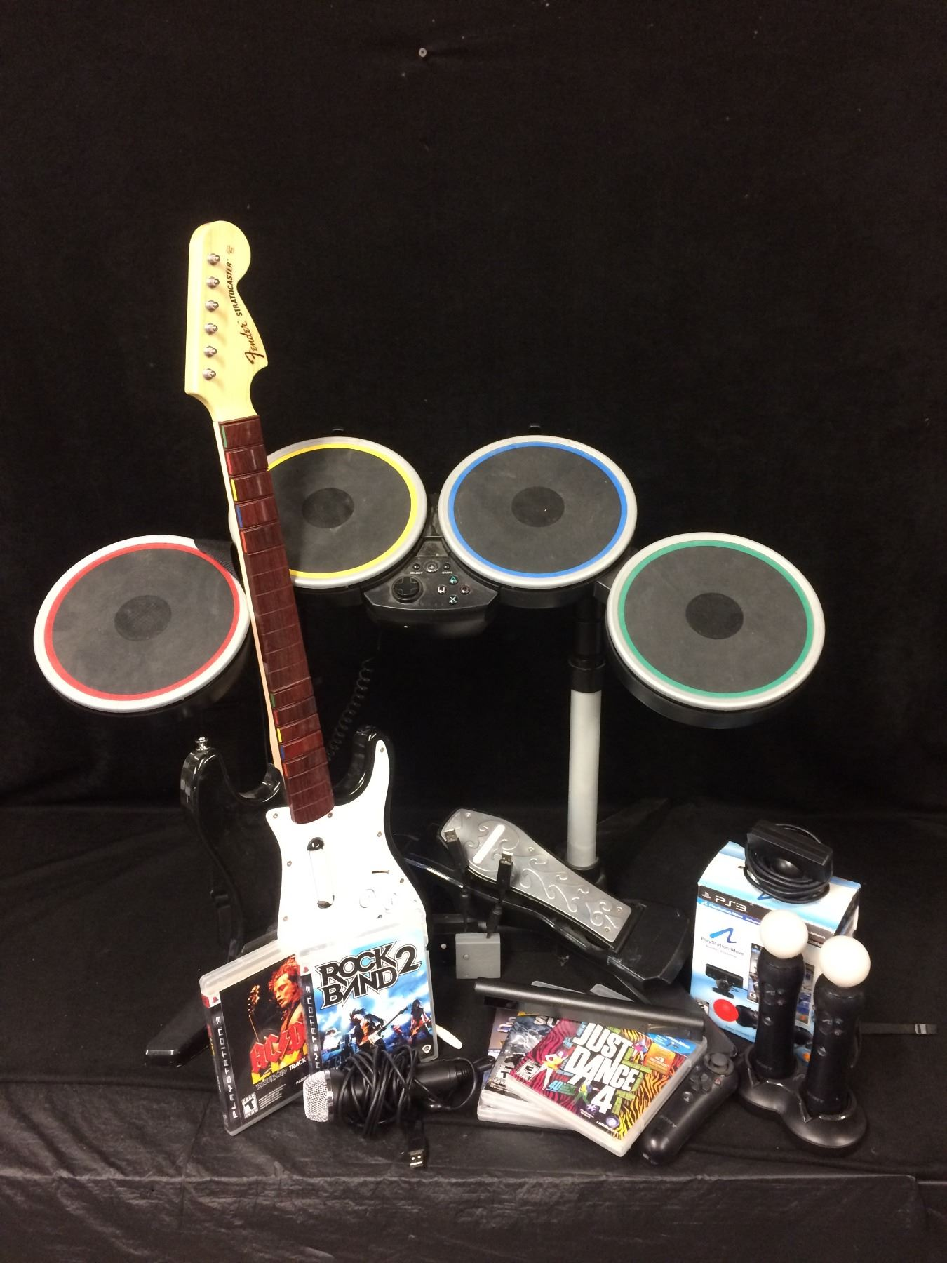 Rock Band 2 Wireless Drum Set, Guitar, Game Xbox 360 Bundle Lot
