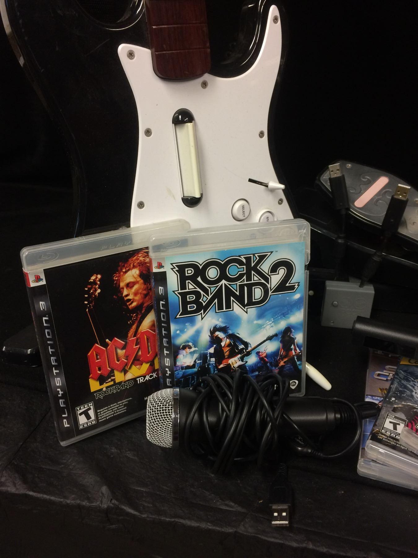 Rock Band 2 Wireless Drum Set, Guitar, Game Xbox 360 Bundle Lot