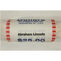 $25 ROLL OF 2010 ABRAHAM LINCOLN DOLLARS UNC
