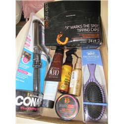 Flat of New Assorted Hair products / Argan Oil / Curling Iron / Brush etc.