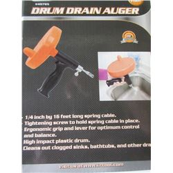 New 16 foot Drum Drain Auger / 1/4 in x 16ft clean your own drain & save!
