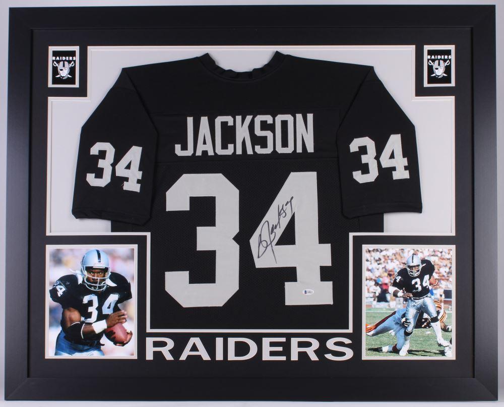new styles b434b 4f352 Bo Jackson Signed Raiders 35x43 Custom Framed Jersey ...