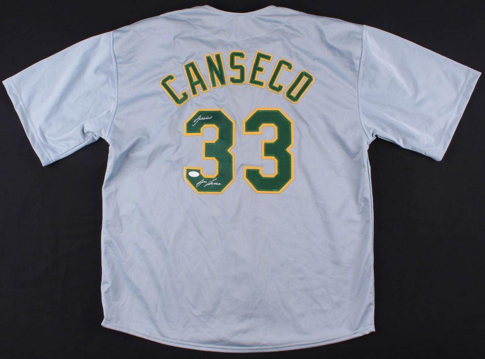 55bbecd1 Image 1 : Jose Canseco Signed Athletics Jersey Inscribed