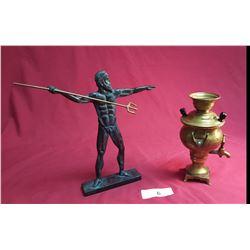 Miniature Brass Urn & Poseidon Greek God Figure