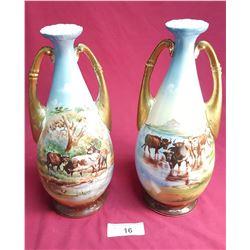Pair of Victorian Vases w/ Livestock Scene
