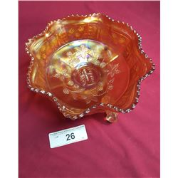 Marigold Carnival Footed Butterfly Bowl