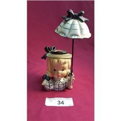 Head Vase w/ Vintage Scarves & Removable Umbrella